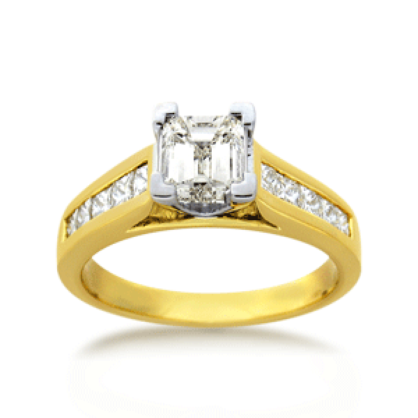 18ct Yellow Gold Princess-cut 1.0ct TDW Diamond Shoulder Solitaire Engagement Ring
