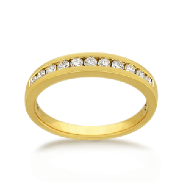 18ct Yellow Gold Round Brilliant-cut 0.22ct TDW Diamond Wedding Ring