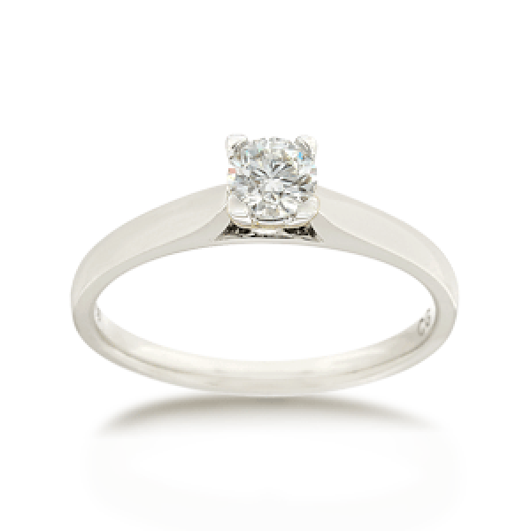 18ct White Gold Round Brilliant-cut 0.30ct Diamond Solitaire Engagement Ring