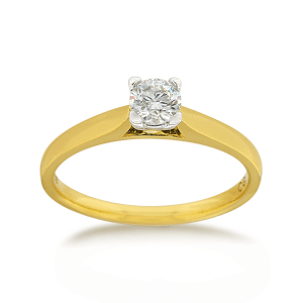 18ct Yellow Gold Round Brilliant-cut 0.30ct Diamond Solitaire Engagement Ring