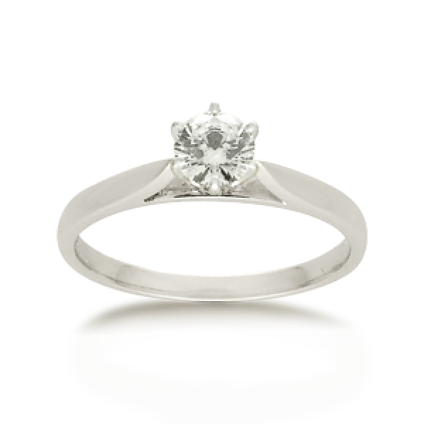 18ct White Gold Round Brilliant-cut 0.34ct Diamond Solitaire Engagement Ring