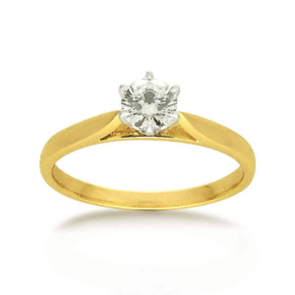 18ct Yellow Gold Round Brilliant-cut 0.34ct Diamond Solitaire Engagement Ring