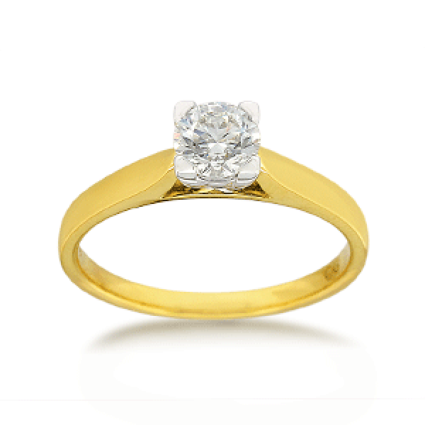 18ct Yellow Gold Round Brilliant-cut 0.50ct Diamond Solitaire Engagement Ring