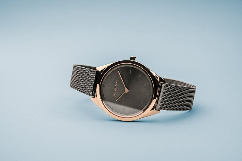 Bering Ultra Slim Polished Rose Gold Grey Mesh Watch