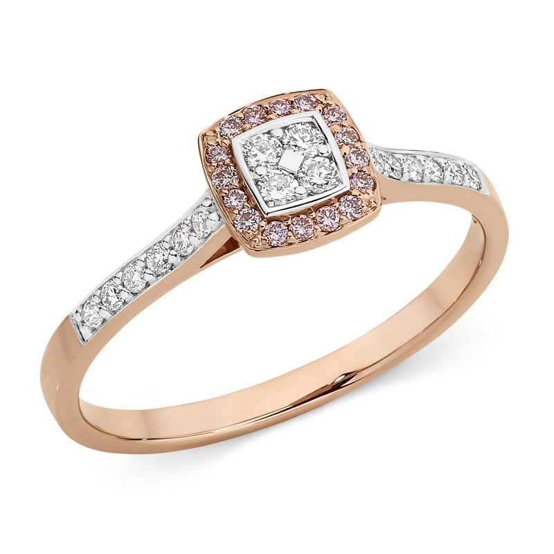 PINK CAVIAR 0.25ct Pink Diamond Ring in 9ct Rose Gold