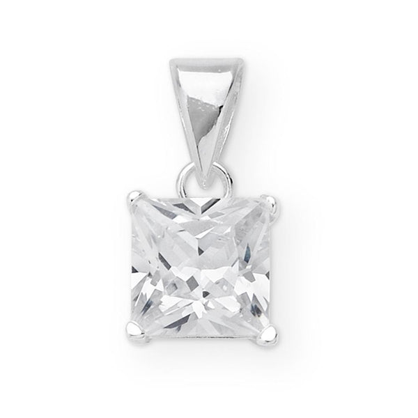 Sterling Silver Princess Cut Cubic Zirconia Set Pendant