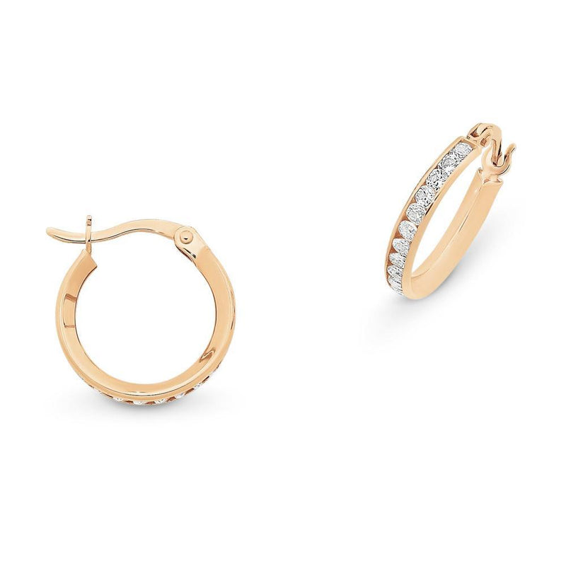 9Ct Rose Gold Hoops With Cubic Zirconia