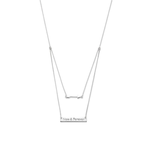 Sterling Silver Arrow & Bar Necklet