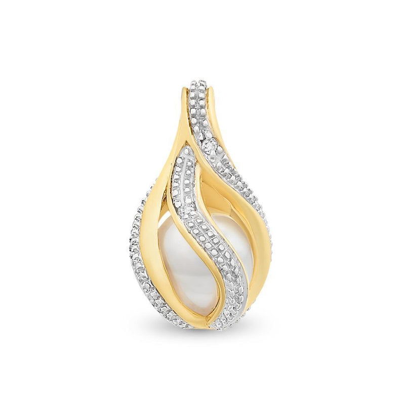 9Ct Gold Freshwater Pearl & Diamond Pendant