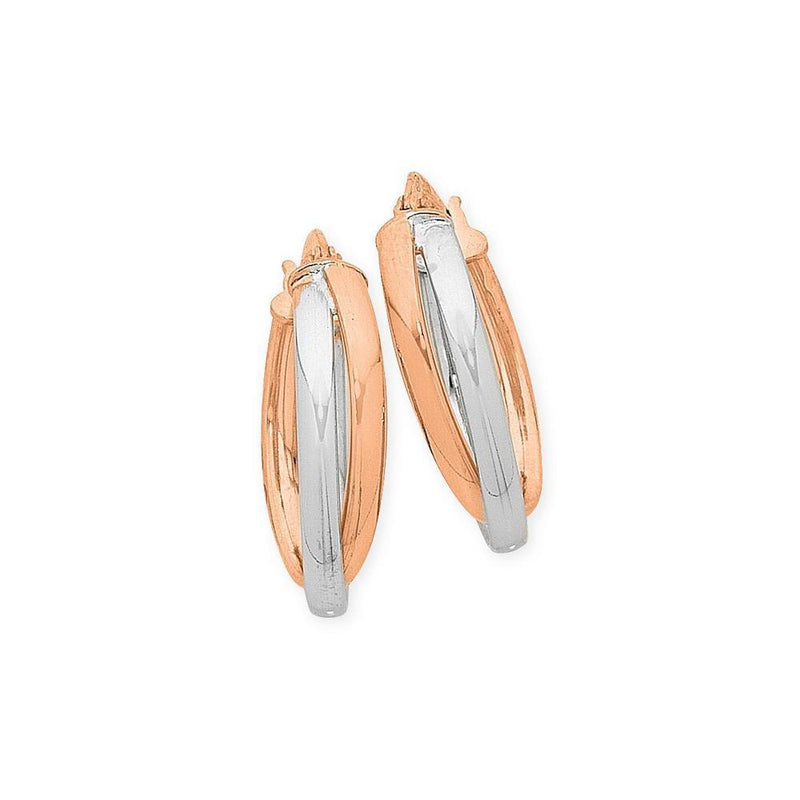 9Ct Gold Two Tone Silver Filled Hoop Earrings