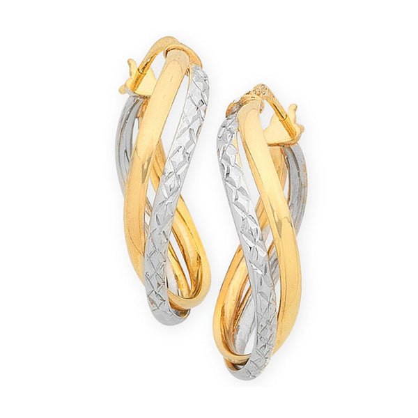 9Ct Two Tone Gold Silver Filled Hoop Earrings