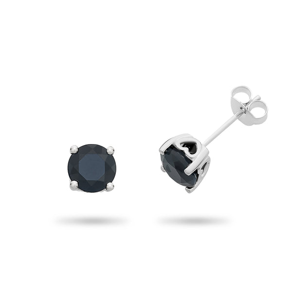 Sterling Silver Natural Sapphire Stud Earrings