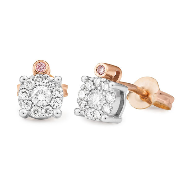 PINK CAVIAR 0.32ct Pink Diamond Earrings in 9ct Rose & White Gold