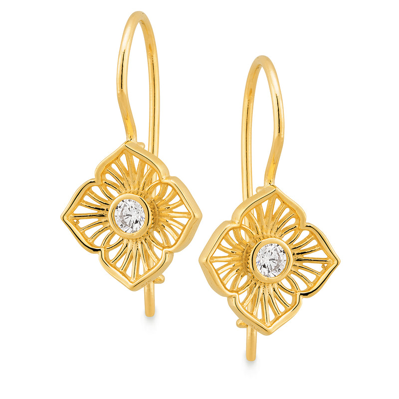 Diamond Bezel Set Shepherd Hook Earrings in 9ct Yellow Gold