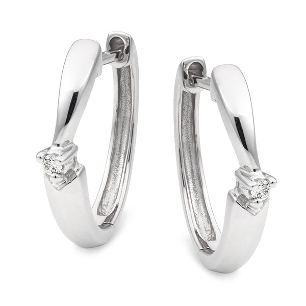 Diamond Claw Set Huggie Earrings in 9ct White Gold