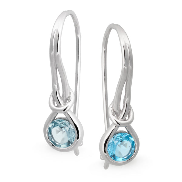 Blue Topaz Bezel Set Shepherd Hook Earrings in 9ct White Gold