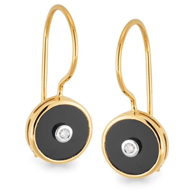 Onyx & Diamond Earrings in 9ct Yellow & White Gold