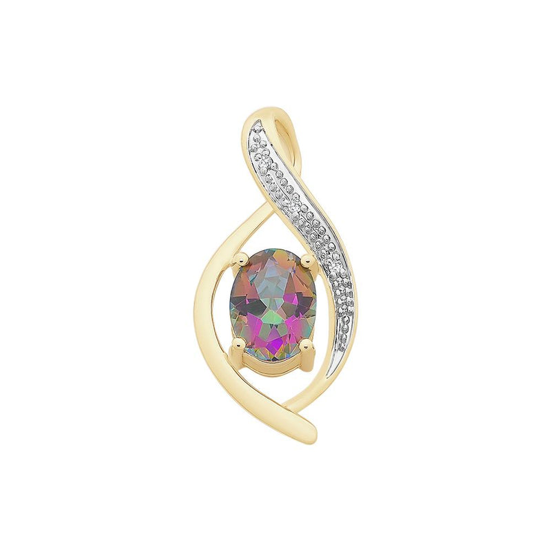 9ct Gold Mystic Topaz & Diamond Pendant