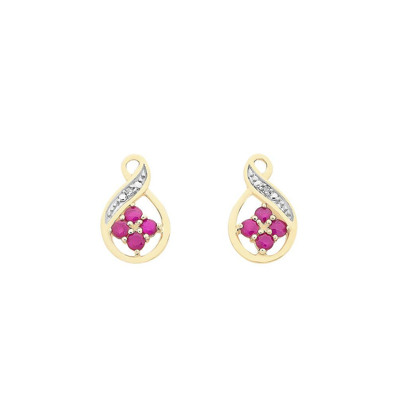 9ct Yellow Gold Natural Ruby & Diamond Stud Earrings