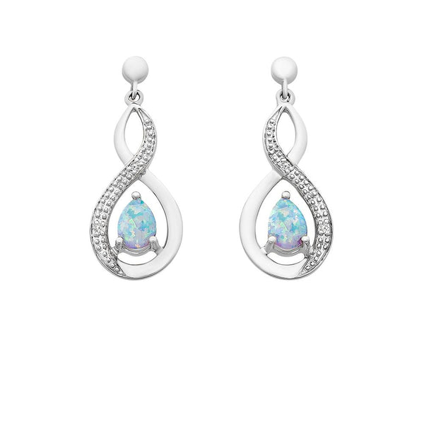 9ct White Gold Created Opal & Diamond Earrings