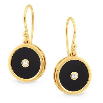 Onyx & Diamond Shepherd Hook Earrings in 9ct Yellow Gold