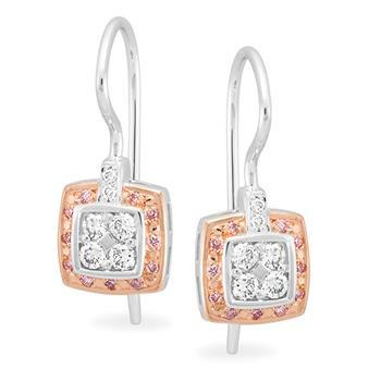 Pink Diamond Bead Set Earrings in 9ct Rose Gold