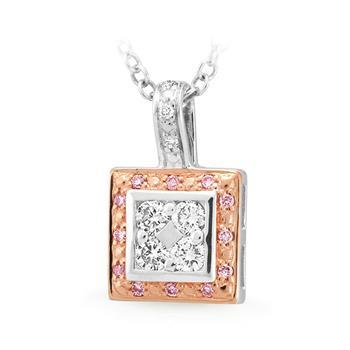 Pink Diamond Bead Set Pendant in 9ct Rose Gold