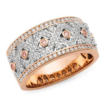Pink Diamond Dress Ring in 9ct Two Tone Gold
