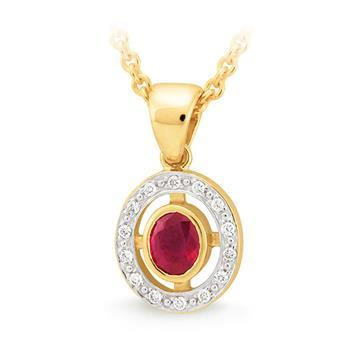 Ruby & Diamond Pendant in 9ct Yellow Gold