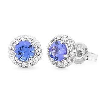Tanzanite & Diamond Stud Earrings in 9ct White Gold