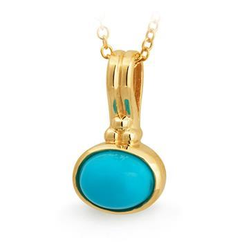 Turquoise Bezel Set Pendant in 9ct Yellow Gold