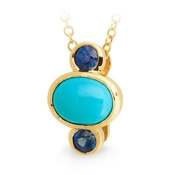 Turquoise & Sapphire Pendant in 9ct Yellow Gold