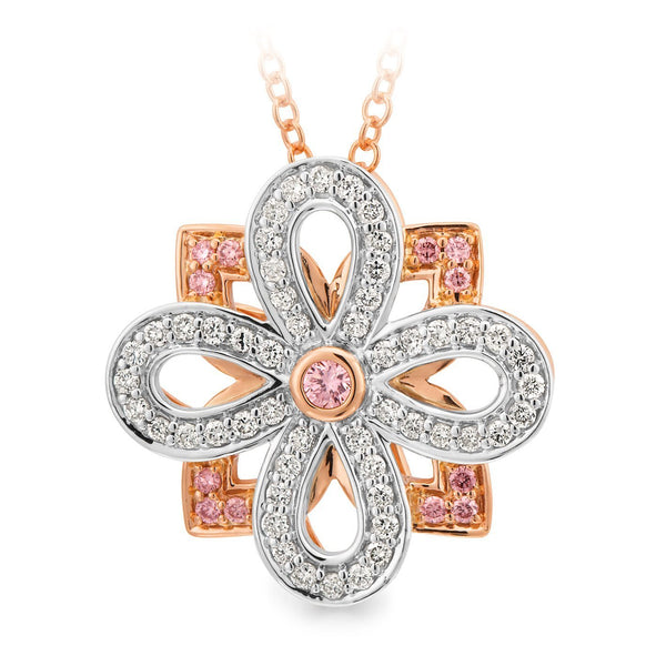 PINK CAVIAR 0.35ct Pink Diamond Pendant in 9ct Rose & White Gold