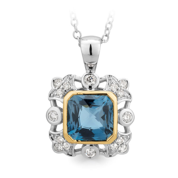 London Blue Topaz & Diamond Bezel/Bead Set Pendant in 9ct White & Yellow Gold