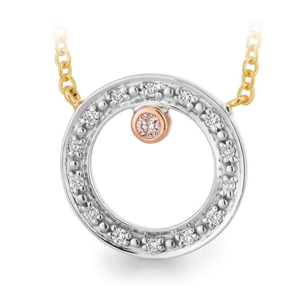 PINK CAVIAR 0.043ct Pink Diamond Necklet Pink Caviar in 9ct White, Yellow & Rose Gold