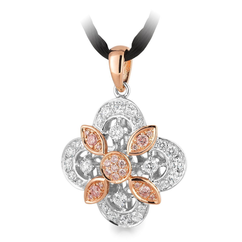 PINK CAVIAR 0.384ct Pink Diamond Pendant in 9ct Rose & White Gold