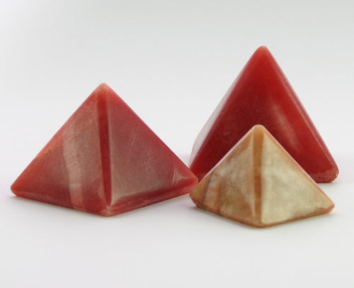 RED ALABASTER PYRAMIDS (SET OF 3)