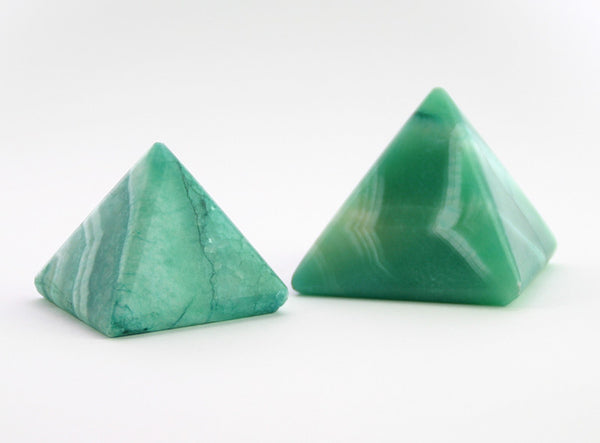 GREEN ALABASTER PYRAMIDS (SET OF 2)