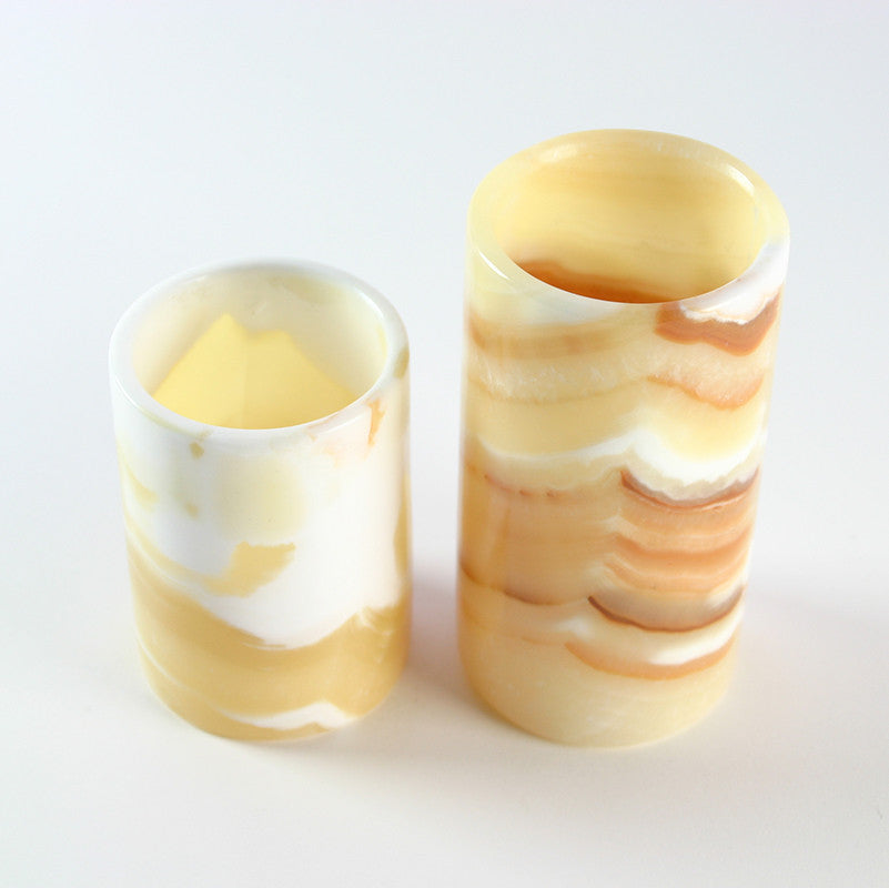 ALABASTER CANDLE HOLDERS (SET OF 2)