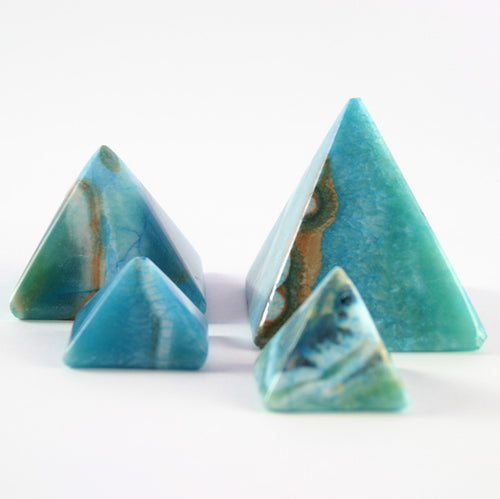 BLUE ALABASTER PYRAMIDS (SET OF 4)