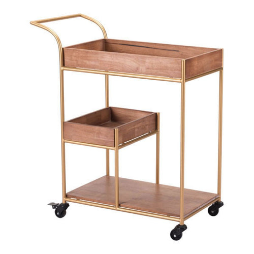 WOOD & STEEL BAR CART