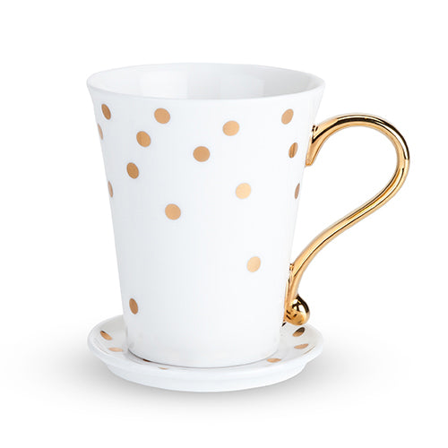 POLKA DOT CERAMIC MUG AND SAUCER