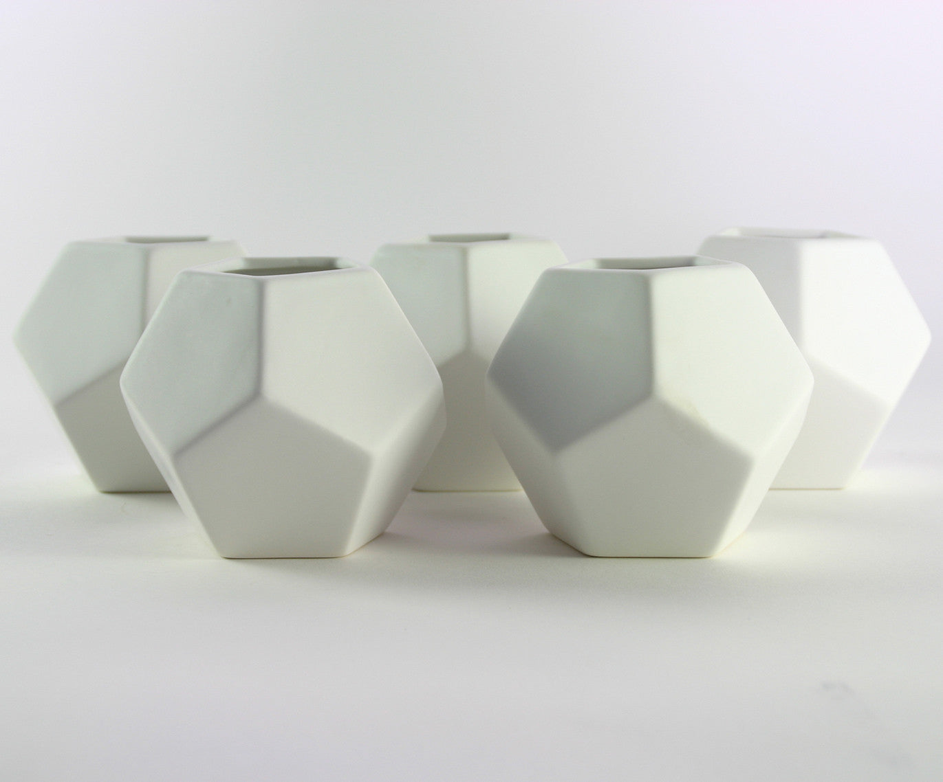 SMALL FACETED VASES (SET OF 5)