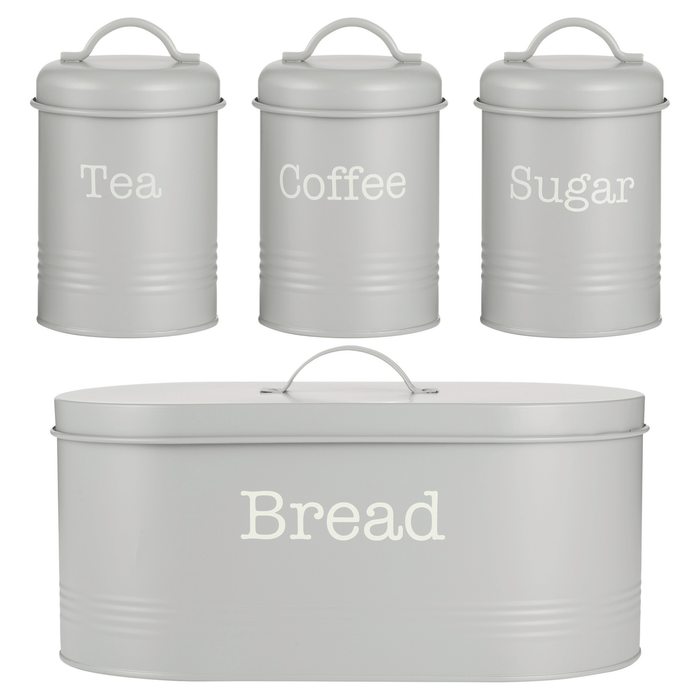 Typhoon Colonna 4 Piece Tea, Coffee, Sugar & Bread Set Grey