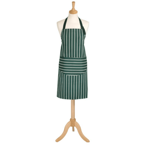 Rushbrookes Adult Classic Butchers Stripe Kitchen Apron in Racing Green
