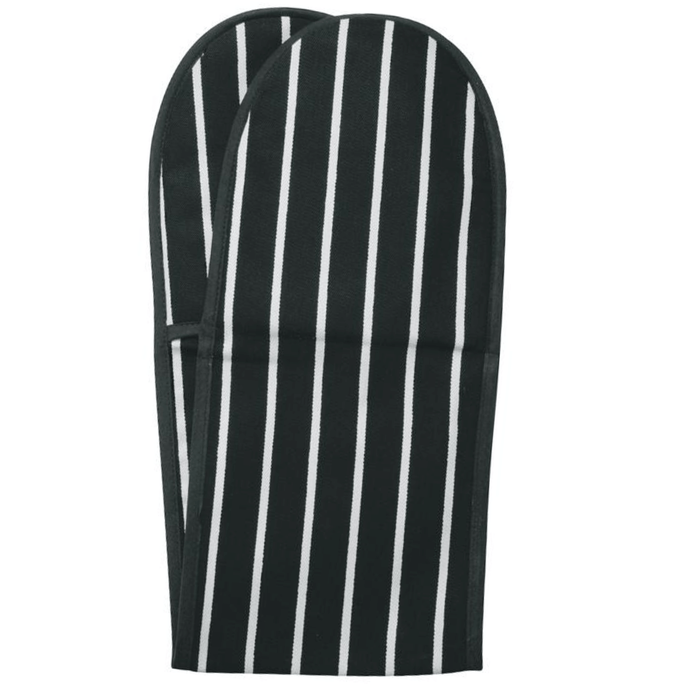 Rushbrookes Classic Butchers Stripe Double Oven Glove - Slate Grey