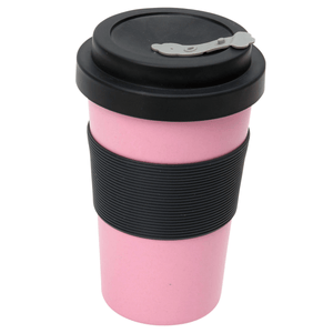 BamBroo reusable Drinks Mug Peony Pink 400ml