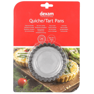 Dexam Non-Stick Mini Quiche/Tart Pans, Set of 4 12cm