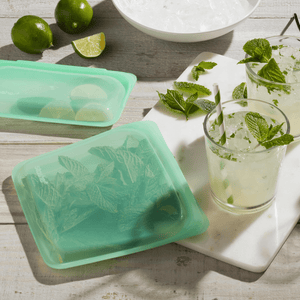 Stasher Silicone reusable Sandwich/snack bag Set-Mint