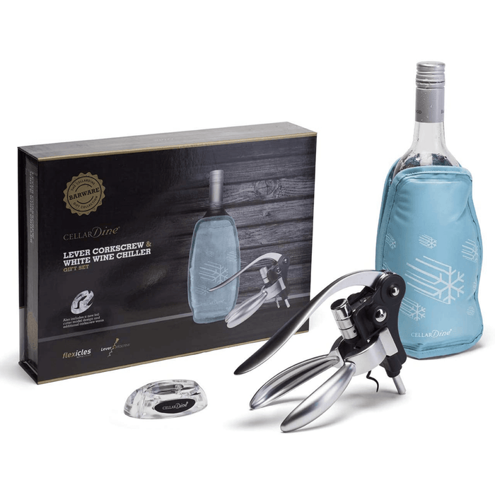 Cellardine Flexicles Bottle Chiller and Lever Action Corkscrew Gift Set